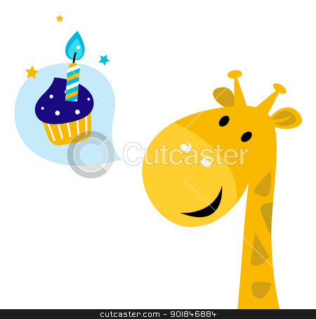 Cute yellow cartoon party giraffe with Candy stock vector clipart, Party giraffe thinking about Cupcake. Vector Illustration by Jana Guothova