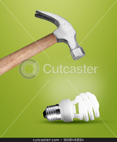 Hammer stock photo, Hammer hitting a lightbulb . by Designsstock