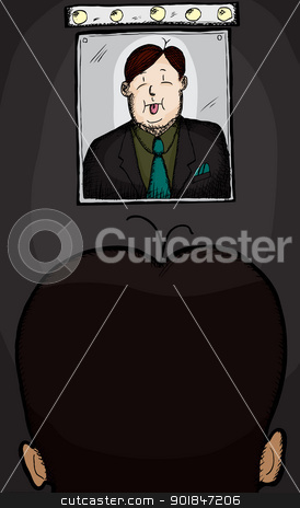 Businessman With Hair Problem stock vector clipart, Businessman with hair problem looking in mirror with tongue out by Eric Basir