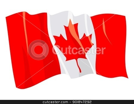flag from national flags series stock vector clipart, Political waving flag of Canada by Oleksandr Kovalenko