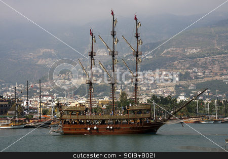 Tourist boat in Alanya Harbour, Turkey stock photo, Tourist boat in Alanya Harbour, Turkey by Kevin Hellon