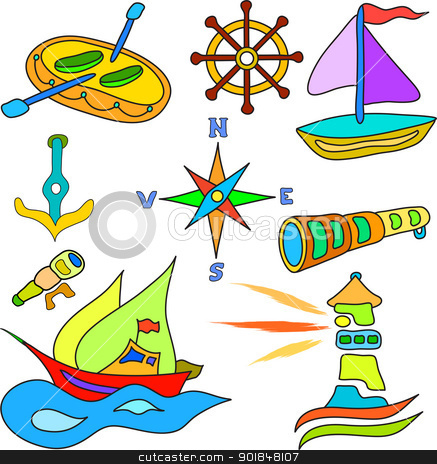 sailing and boat set stock vector clipart, set of sailing and boat icons in color by Ioan Panaite