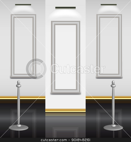 Virtual museum exposition hall stock vector clipart, Virtual museum exposition hall with three empty highlighted frames ready for picture framing by Vladimir Repka