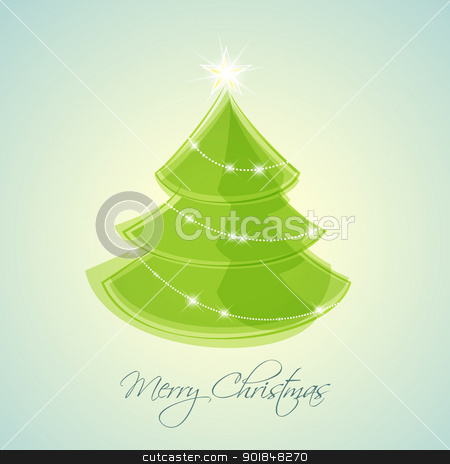 Christmas tree stock vector clipart, green Christmas tree on blue background by Miroslava Hlavacova