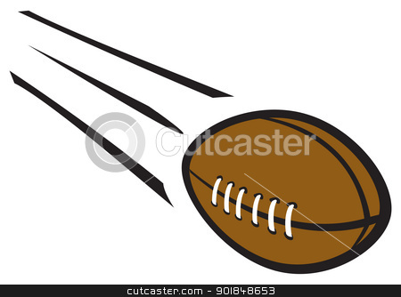 Football Flying Through Air stock vector clipart, A cartoon football flying through the air at high speed. by Jamie Slavy