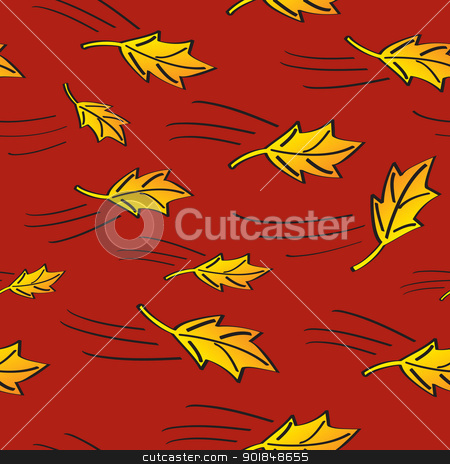 Seamless Fall Leaves Blowing stock vector clipart, A seamless pattern of golden autumn leaves blowing in the wind with a red background. by Jamie Slavy