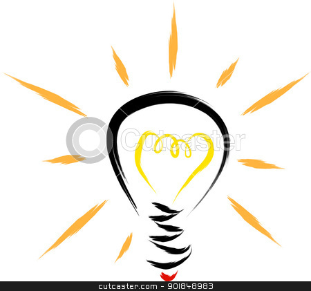 light bulb sketch stock vector clipart, light bulb abstract illustration  by Ioan Panaite