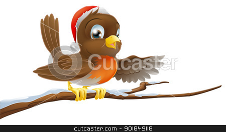 Christmas Robin on Snowy Branch stock vector clipart, Christmas Robin bird seated on snow covered tree branch with Santa hat on pointing with wing  by Christos Georghiou