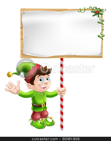 Christmas elf with sign stock vector clipart, A Christmas elf or pixie or Santa's helper holding a large Christmas sign in traditional elf clothes by Christos Georghiou