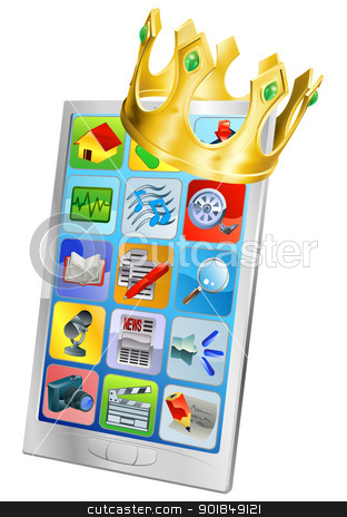 Cell Phone King stock vector clipart, Cell phone king concept, cell phone wearing a gold crown by Christos Georghiou