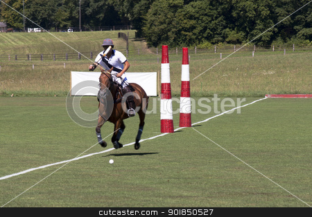 Polo player stock photo, Polo player on horse chasing ball by Abdul Sami Haqqani