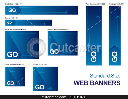Standard Size Web Banners stock vector clipart, Standard size web banners collection, all the elements can be scaled to any size without loss of resolution. by Bagiuiani Kostas