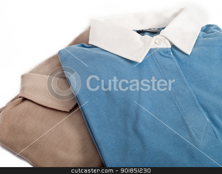 Two polo-shirts stock photo, two longsleeve polo-shirts isolated on white  by burnel11