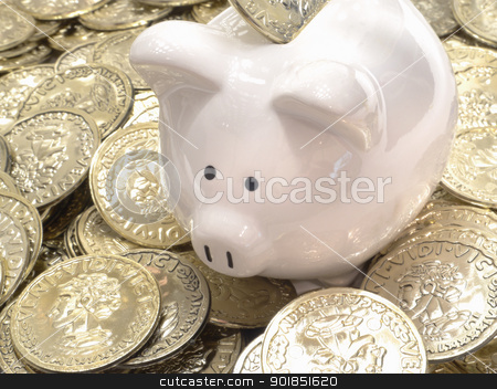 Rich Piggy Bank With Gold Coin Money  stock photo, Piggy bank surrounded by piles of gold coins. Indicates wealth, money, strong finances, savings, business by Matt Jones