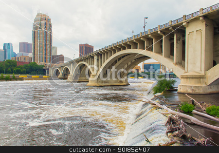 Hennepin Avenue Bridge stock photo, The Mississippi River flows under the Hennepin Avenue Bridge in downtown Minneapolis, Minnesota by Ken Wolter
