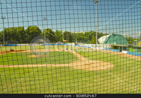Baseball field stock photo, A baseball field before a game under a protection net by Fabio Alcini