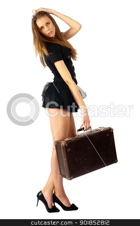 Pretty girl with suitcase stock photo, Young beautiful woman with old suitcase. Isolatedon white by Aikon