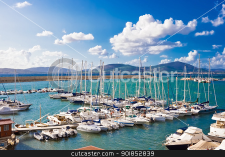 White yachts in the port stock photo, Classic white yachts ancored in the port of Alghero, Sardinia by Alexey Popov