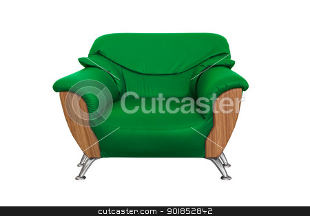 Modern green  sofa stock photo, Modern green  sofa isolated on white background by stoonn