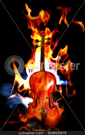 Burning flaming violin stock photo, Violin in flames on black background by Matt Jones