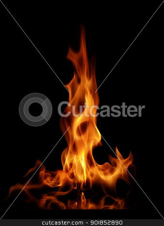 Fire flames stock photo, Firey flames on black background by Matt Jones