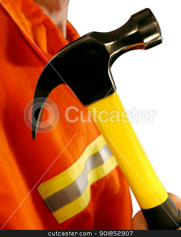 Hammer High Visibilibilty Jacket Construction Worker stock photo, Construction Worker Holding Hammer Wearing High Visibilibilty Jacket  by Matt Jones