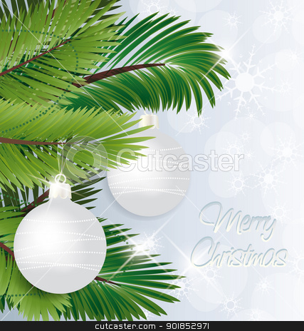 Christmas background stock vector clipart, Christmas background with baubles and christmas tree  by Miroslava Hlavacova