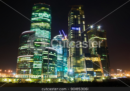Skyscrapers at night stock photo, International Business Centre buildings at night by Alexey Popov