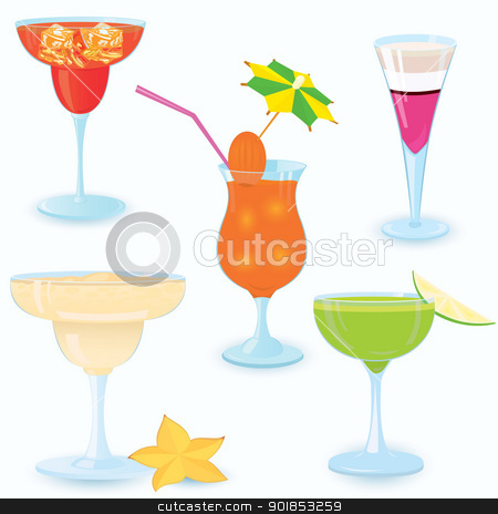 Cocktail-icon-set stock vector clipart, Vector illustration of cocktail icon set on white background 