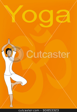 Yoga stock vector clipart, Yoga Tree Asana A4 Poster suitable for a backdrop for text and other images. The yoga tree asana in the foreground with the 'om' sign in the background. by Kotto
