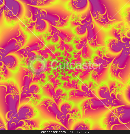 Pink and Yellow Spiral stock photo, Computer generated fractal image with a spiral design in pink, yellow and green. by Colin Forrest