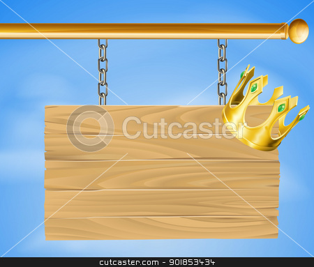 Wooden hanging sign and gold crown stock vector clipart, Illustration of a wooden hanging sign with a gold crown on it by Christos Georghiou