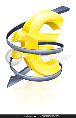 Falling Euro stock vector clipart, Conceptual finance or economy concept of falling price of the Euro exchange rate or just falling profits by Christos Georghiou