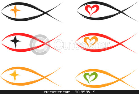 christian fish  stock vector clipart, set of religious christian fish symbols by Ioan Panaite