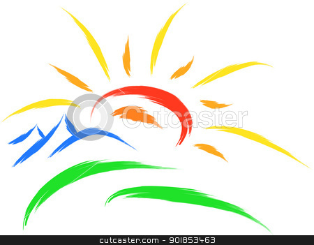 sun nature symbol stock vector clipart, sun and mountain on grass, nature symbol by Ioan Panaite