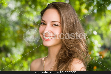 A big friendly smile. stock photo, Portrait of a gorgeous young brunette woman with a big friendly smile. by exvivo
