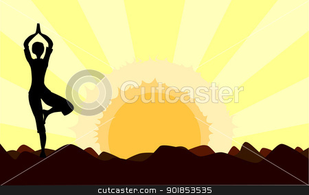 Dawn Yoga stock vector clipart, A woman practicing yoga at either sunset or senrise - useful for a advertisement  or magazine page backdrop. by Kotto
