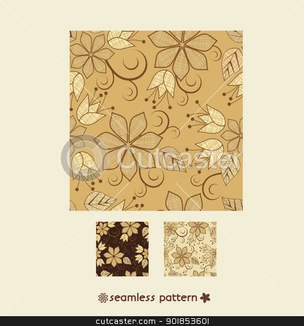 pattern floral  stock vector clipart, seamless pattern with floral ornament  by Miroslava Hlavacova