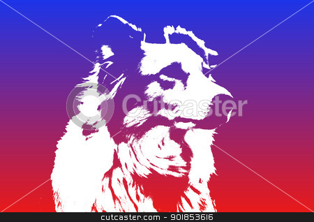 White Border Collie Dog Silhouette  stock photo, Unique White Border Collie Dog Silhouette Against Colorful Gradient Backdrop by Snap2Art