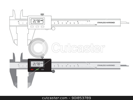 Vernier caliper digital tool vector illustration stock vector clipart, Vernier caliper digital tool isolated on white. Vector illustration. by lkeskinen