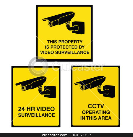 Video surveillance camera sign black and yellow stock vector clipart, Video surveillance sign with yellow background and black camera. Property is protected by video surveillance. by lkeskinen