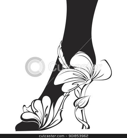Black and white contour eco shoe stock vector clipart, Black and white contour eco shoe vector  illustration  by Zebra-Finch