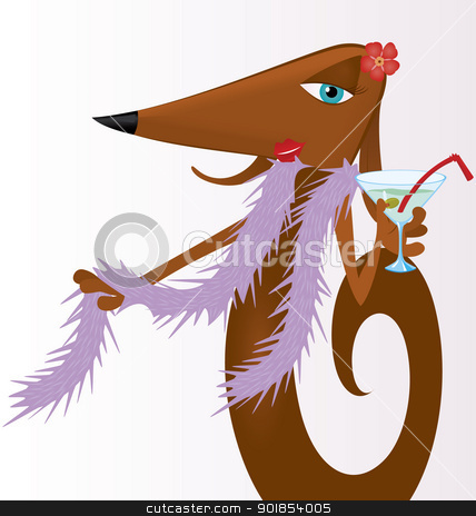 Dog with martini stock vector clipart, Cartoon character dog holding martini cocktail vector illustration