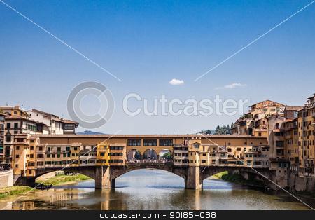 Florence, Ponte Vecchio stock photo, Italy, Florence. View of Ponte Vecchio, the main landmark of the city by Perseomedusa