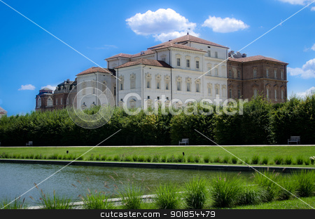 Reggia di Venaria Reale near Turin, Italy stock photo, Italy - park, pond and palace in Reggia di Venaria by Stefano Cavoretto