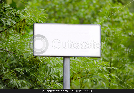Blank sign in the woods stock photo, Blank white sign in front of forest trees by Stefano Cavoretto