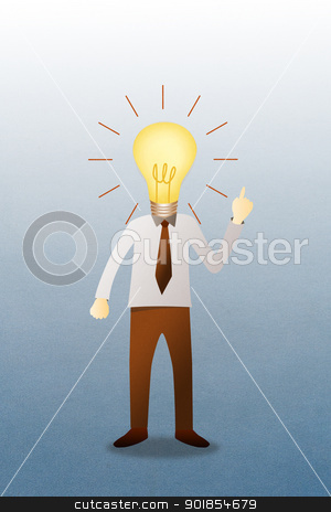 Business man with head  idea lightbulb  stock photo, Business man with head  idea lightbulb  by jakgree