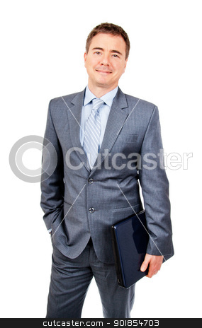 Relaxed business man ready to do work on the go stock photo, Relaxed business man standing with laptop in hand by Stephen Laurence