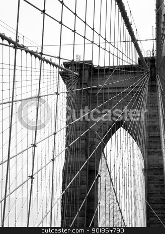 Brooklyn bridge stock photo, The Brooklyn Bridge is one of the oldest suspension bridges in the United States and connects Manhattan and Brooklyn. by Abdul Sami Haqqani