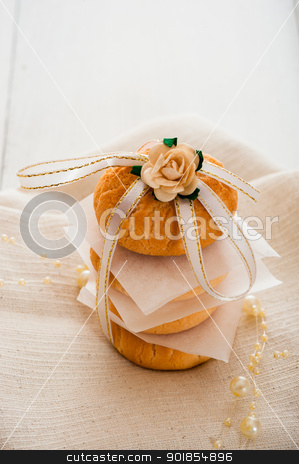 Vanilla cookies stock photo, Vanilla cookies as present on napkin and white table by p.studio66